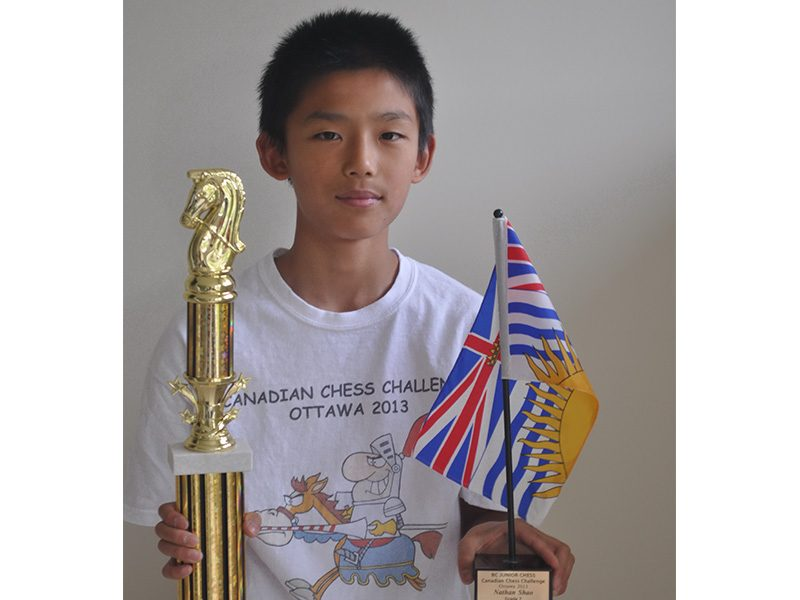 Nathan wins Grade 7 BC Junior Canadian Chess Challenge for K-12, Ottawa, May 2013