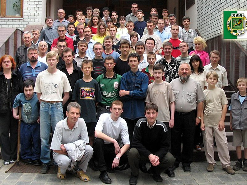 Participants of the chess tournament Glassy Stream organized together with my friend Sergey Tugaj in the Kharkiv Sport School, dedicated to 350th Kharkivs anniversary, July 2004